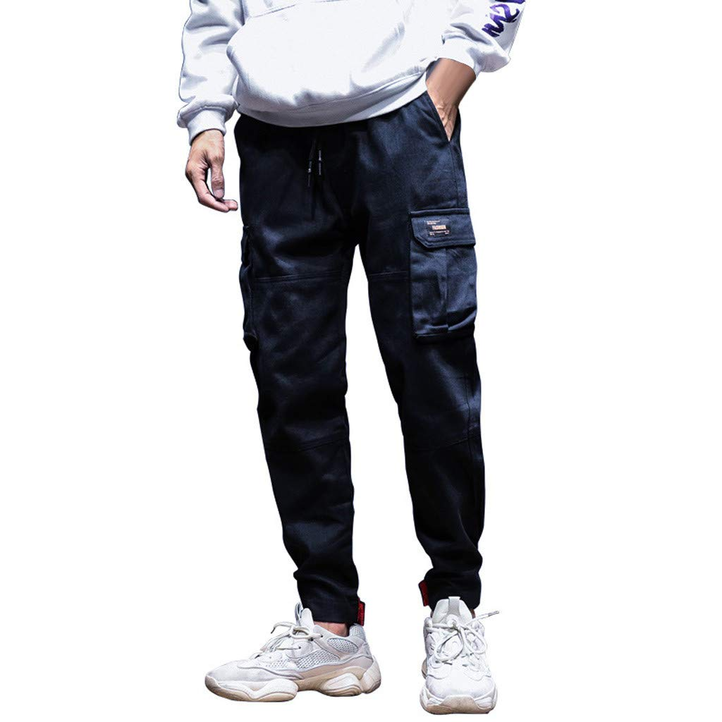 Pants Men Skinny Jeans Fall Winter Fashion Leisure Overalls Saggy Little feet Pants Loose Pants Black XXL by XZDCDJ