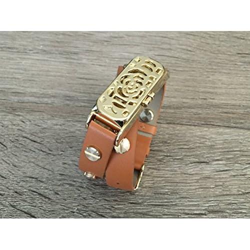 Marron Double Wrap Bande de cuir pour Fitbit Flex Fitness tracker d'activité Bracelet de remplacement faite à la main avec motif de fleurs Doré boîtier en métal doré et rivets