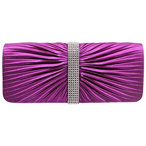 Wiwsi Girl Diamante Lady Bridal Evening Party Clutch Satin Pleated Purse Handbagchampagne purple