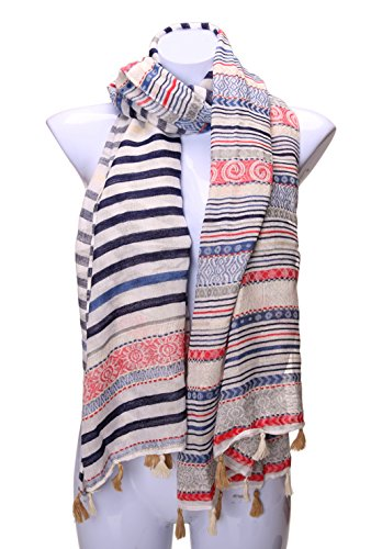 Velice Women's Light Weight Vintage Print Infinity Scarf Shawl Wrap (A-1)