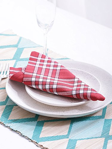 Napkins, Set of 6, 100% Cotton, Normand Check Design, Essential for all tables, Red Color, Size 16''x16''. by Villa Tranquil (Image #3)