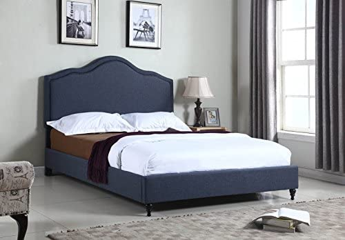 Home Life 0009 Charcoal Blue Linen 51″ Tall Headboard Platform Bed