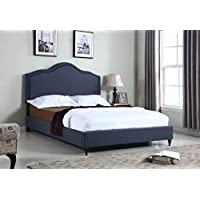 Home Life Cloth Charcoal Blue Linen 51 Tall Headboard Platform Bed with Slats Queen - Complete Bed 5 Year Warranty Included 009