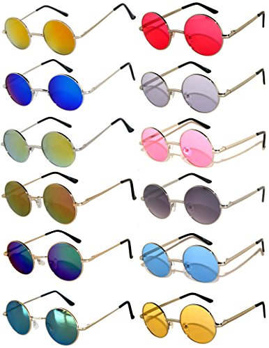 Round Retro Vintage Mirror Lens Gradient Lens Sunglasses Metal Frame 12 Pack Mix – Red Yellow Blue Green Pink Purple Smoke ... - Round Sunglasses Wholesale