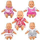 Barwa Handmade 5 Pcs Dresses Clothing Lovely Clothes Costume for 14 to 16 Inch Alive Baby Doll and 18 Inch American Girl