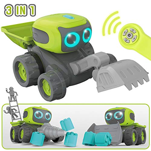 GILOBABY Remote Control Robot Car for Kids, 3 in 1 RC Robot Construction Team Engineering Vehicle, Dance Moves, Plays Music, Light-up Eyes, Gift for Kids Age 3+]()