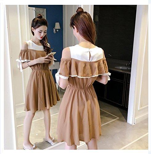 6621 Kaki paules Robe d't Robes Slim Jupe Couleur Ceinture Ladies' S MiGMV Robe Une Bow qY6n4xw7F