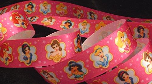 1 inch Disney PRINCESS Aurora Cinderella Jasmine Belle Disney pink satin RIBBON ~ 1 Yd Long ~ hair tie headband wrap gifts bows crafts