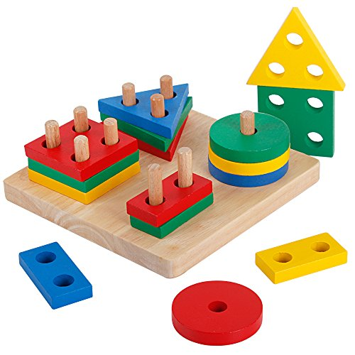 (Wooden Preschool Geometric Shapes Sorting Board Educational Blocks Puzzle Toys for Kids)