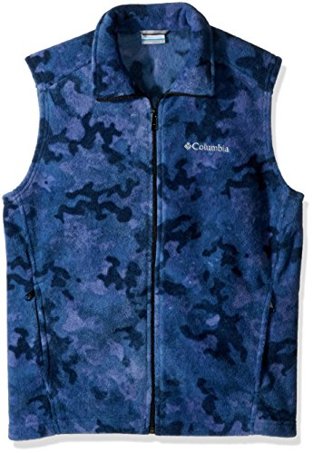 Columbia Men's Steens Mountain Printed Fleece Vest, Night Tide Camo, Small (Camouflage Vest)