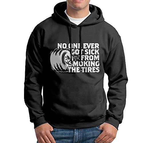 FDLB Mens No One Ever Got Sick From Smoking Tires Leisure Particular Hoodie Hoodies L Black