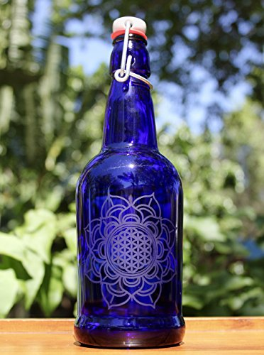 16oz Flotus Etched Cobalt Blue Glass Bottle With Swing-Top Lid (Blue Solar Water Bottle) ()