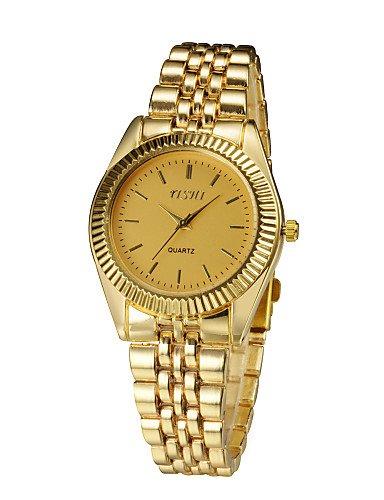 HJL- 2015 mujeres de la moda anillo de oro de lujo visten nuevo reloj mujeres relojes de pulsera de acero inoxidable RELOGIO feminino , golden: Amazon.es: ...