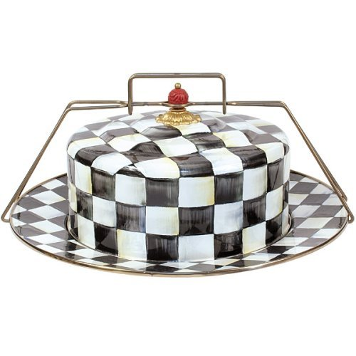 MacKenzie-Childs Enamel Cake Carrier - Courtly Check