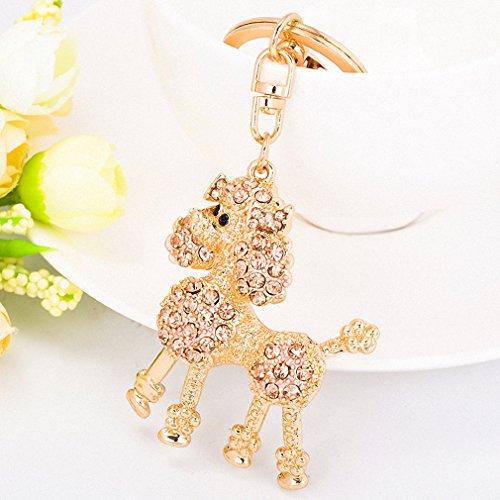 Womens Pink Poodle Dog Keychains Fashion Rhinestone Keyrings Women Bag Charms Handbag Pendant Key Holder Key Rings CHY-2561 Champagne