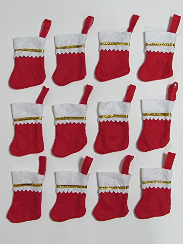 (Dobar Holiday Essentials Mini Christmas Stockings - Red & White Felt with Gold Trim - Set of 12)
