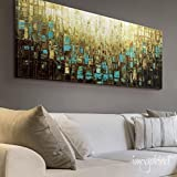 """Modern Wall Decor Large Abstract Wall Art Blue Brown Mid Century Modern Art Prints on Canvas- up to 72"""" by Susanna Shap - Size/price can be selected at top right of page drop-down list"""