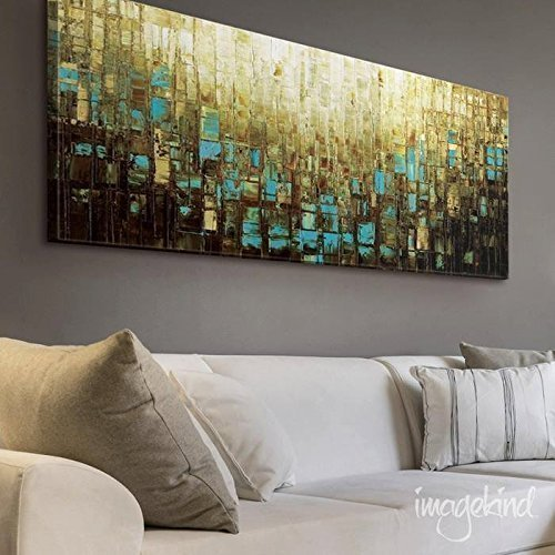 Modern Wall Decor Large Abstract Wall Art Blue Brown Mid Century Modern Art  Prints On Canvas