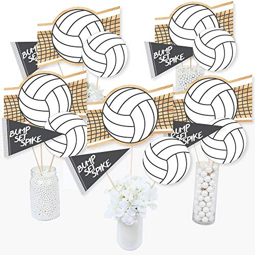 - Bump, Set, Spike - Volleyball - Baby Shower or Birthday Party Centerpiece Sticks - Table Toppers - Set of 15