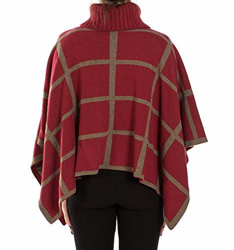 Mujer I Cashmere Para Poncho Rocchi Bordeaux Brown BIIqx4r