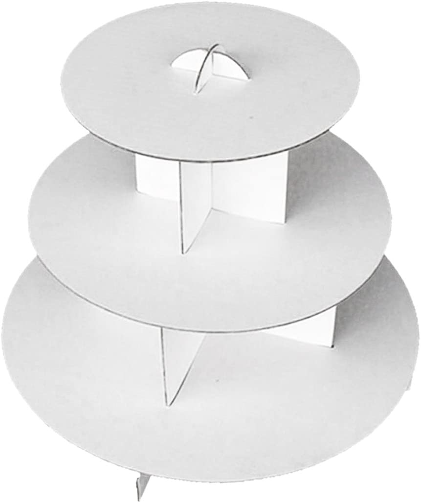 iFavor123 White Round 3-Tier Cardboard Cupcake Stand Dessert Tower Treat Stacked Pastry Serving Platter Food Display (Pkg of 1)