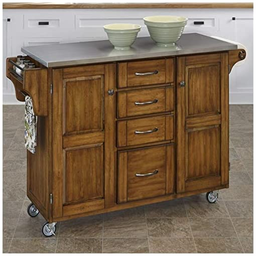 Farmhouse Kitchen CASSY Cart Kitchen Island with Stainless Steel Top Mobile Sideboard Wine Tanker farmhouse kitchen islands and carts