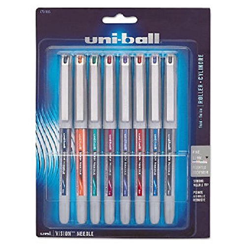 - uni-ball Vision Needle Roller Ball Stick Liquid Pen, Assorted Ink, Fine, 8 per Set