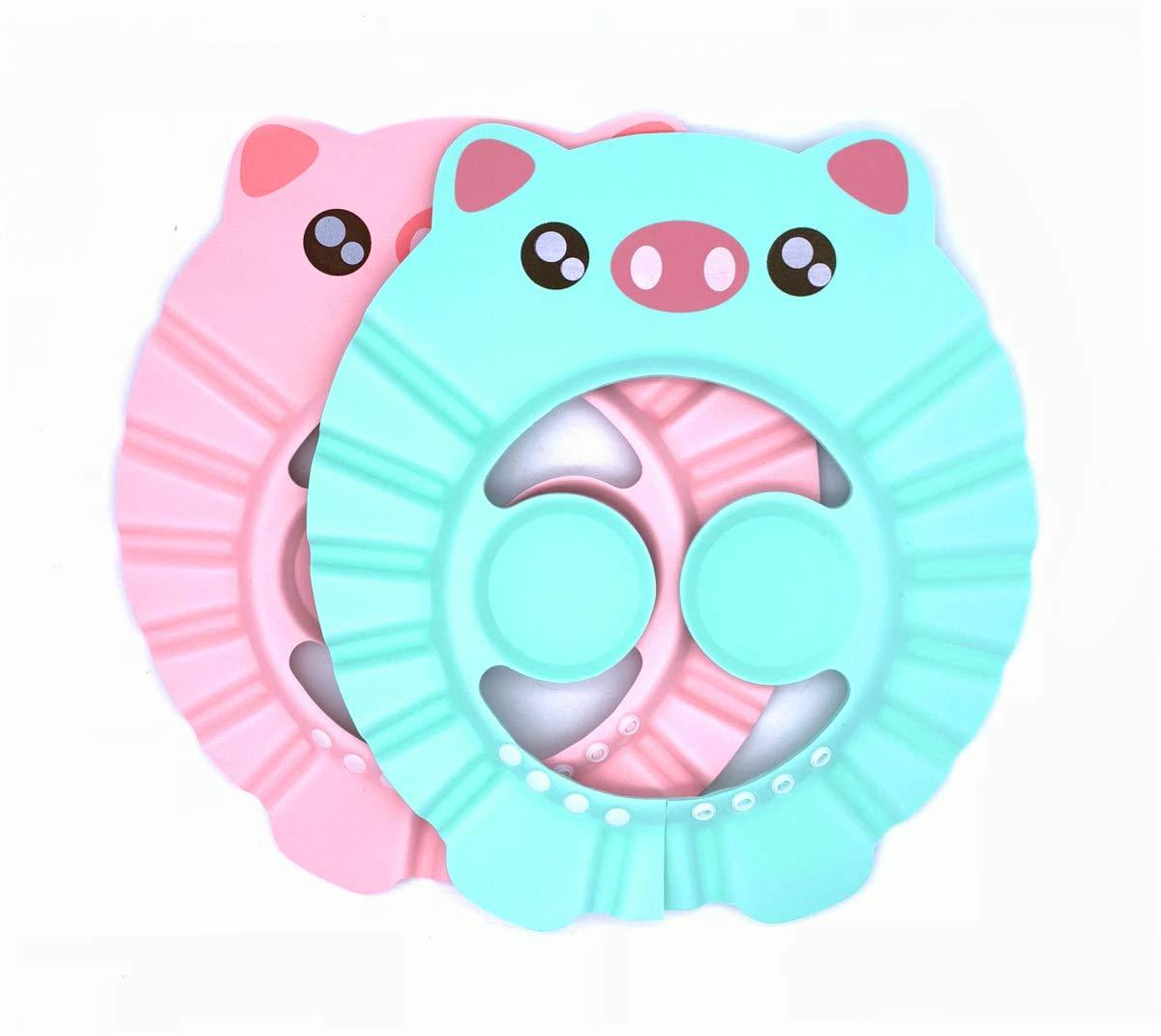 2 Pcs Baby Shower Cap Bathing Cap Soft Adjustable Kids Shampoo Shower Bathing Cap with Ear Protection