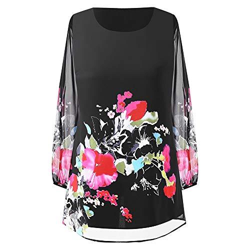 KCatsy Womens Plus Size Chiffon Panel Floral Patchwork Mini Shift Casual Style Dress Black (Mini Gloucester)