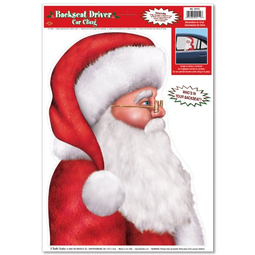 Santa Backseat Driver Car Cling Party Accessory (1 count) -