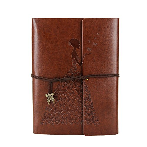Scrapbook Photo Album, XIUJUAN Vintage Leather DIY Memory Book Handmade Refillable Guest Book, 10.8x8 inches 60 pages, Birthday Gifts Wedding Anniversary Presents for women, Butterfly Girl Brown Large