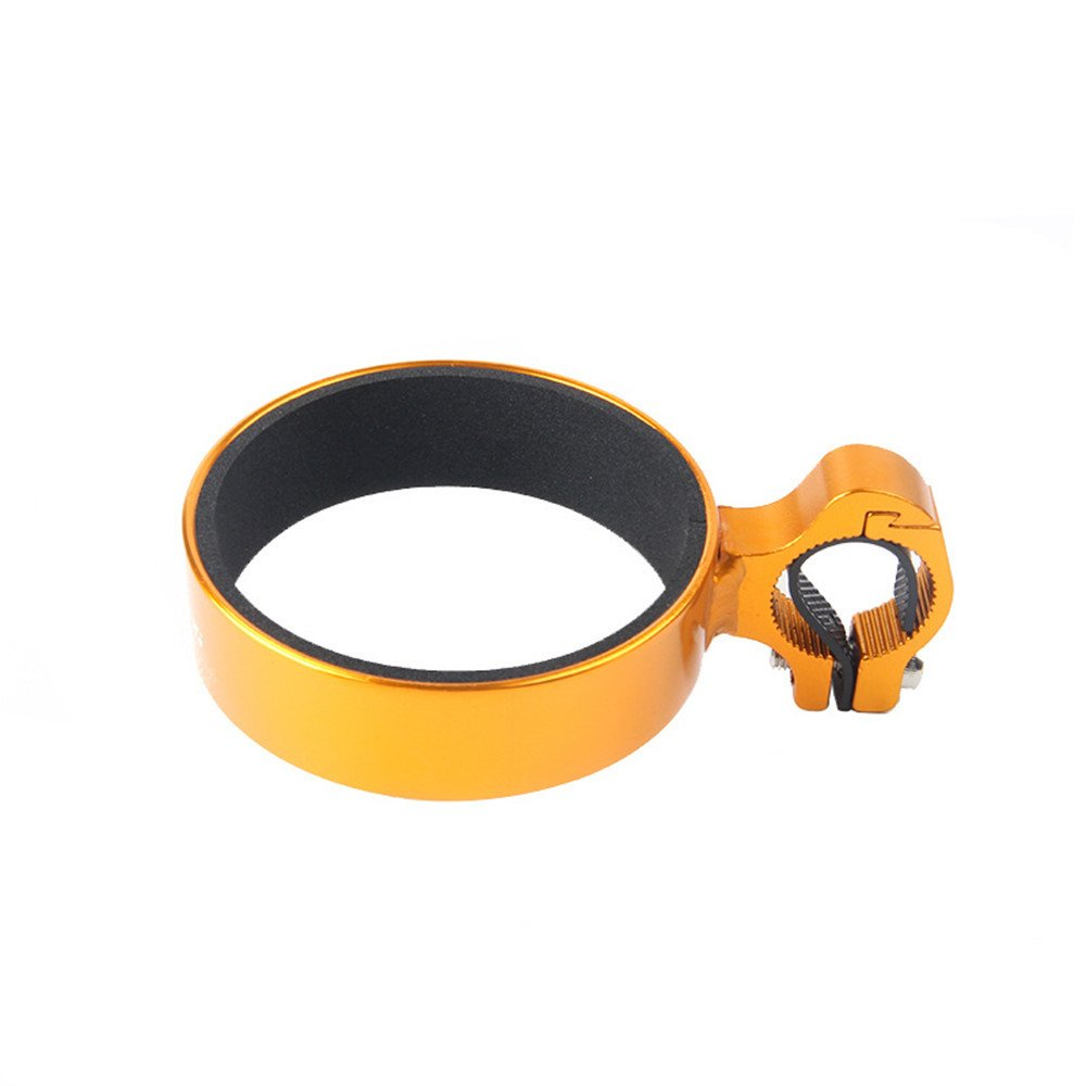 Bicycle Cup Holder Handlebar Cruiser Aluminum Alloy Mountain Road Bicycle Bike Water Bottle Coffee Cup Holder with Non-Slip Liner Inner Diameter 29.9'' and Outer Diameter 34'' (Yellow)