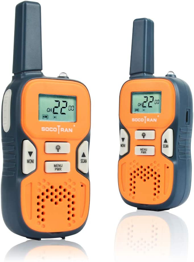 SOCOTRAN Walkie Talkies for Adults FRS License Free Two Way Radios for Kids Girls 2 Pack Easy to Use Long Range VOX LCD 22 Channel Flashlight Walky Talky for Camping Hiking Family Biking Fathers Day