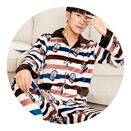 2018 Winter Pajamas for Men Thick Flannel Sleepwear Suit 2 Pcs Pyjama,991948,XXXL