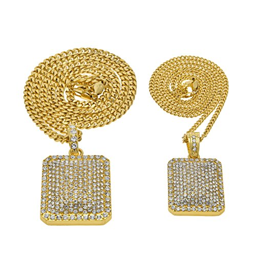 Link Bling - AOVR Hot Hip Hop CUBAN LINK Chain 14k Gold Silver Plated CZ CRYSTAL Bling Bling Fully Iced-Out Pendant (Gold Big+Small)