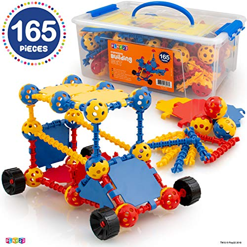Play22 Building Toys For Kids 165 Set - STEM Educational Construction Toys - Building Blocks For Kids 3+ Best Toy Blocks Gift For Boys and Girls - Great Educational Toys Building Sets - Original -