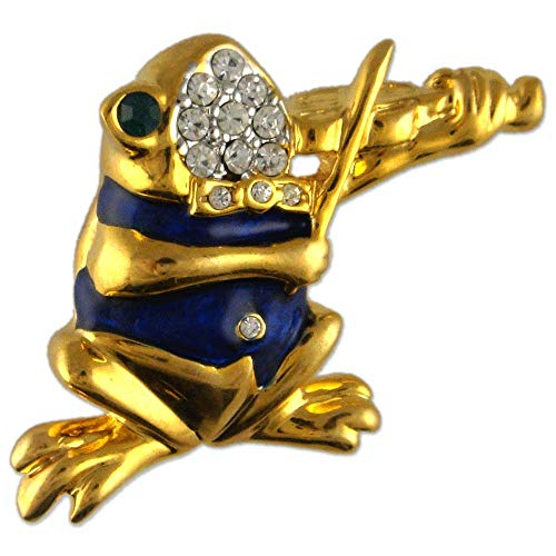 (Crystal Gold Plated Frog Brooch Pendant Made with Swarovski Elements (Blue))