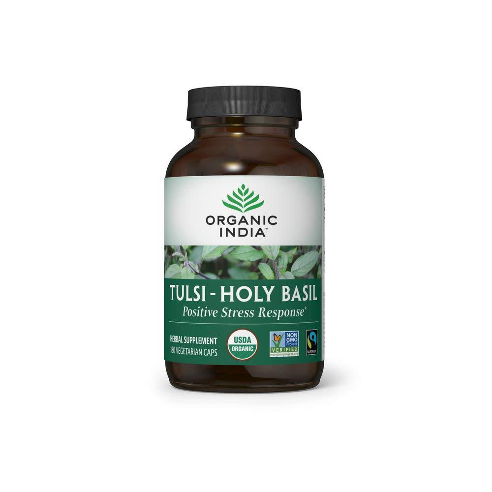 Organic India Tulsi Herbal Supplement - Holy Basil, Immune Support, Adaptogen, Supports Healthy Stress Response, Vegan, Gluten-Free, Kosher, USDA Certified Organic, Non-GMO - 180 Capsules