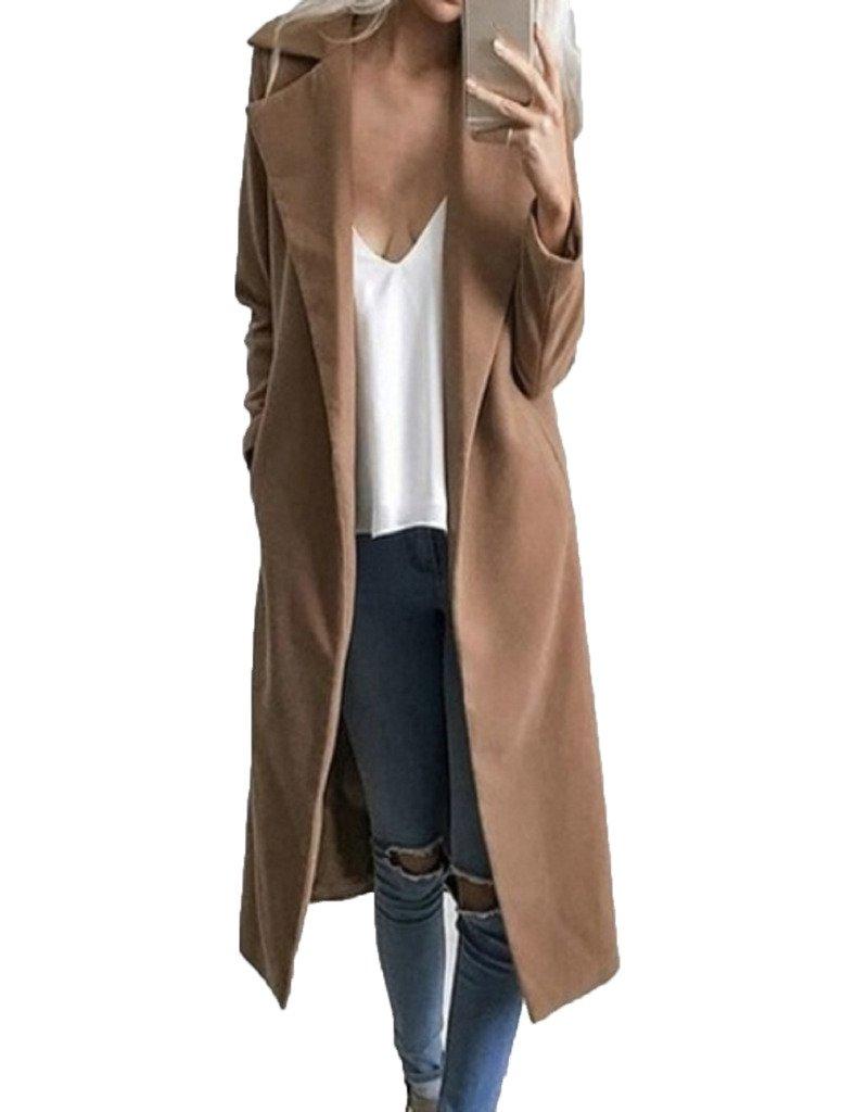 CR Women's Khaki Lapel Wool Blend Long Warm Coat Outwear