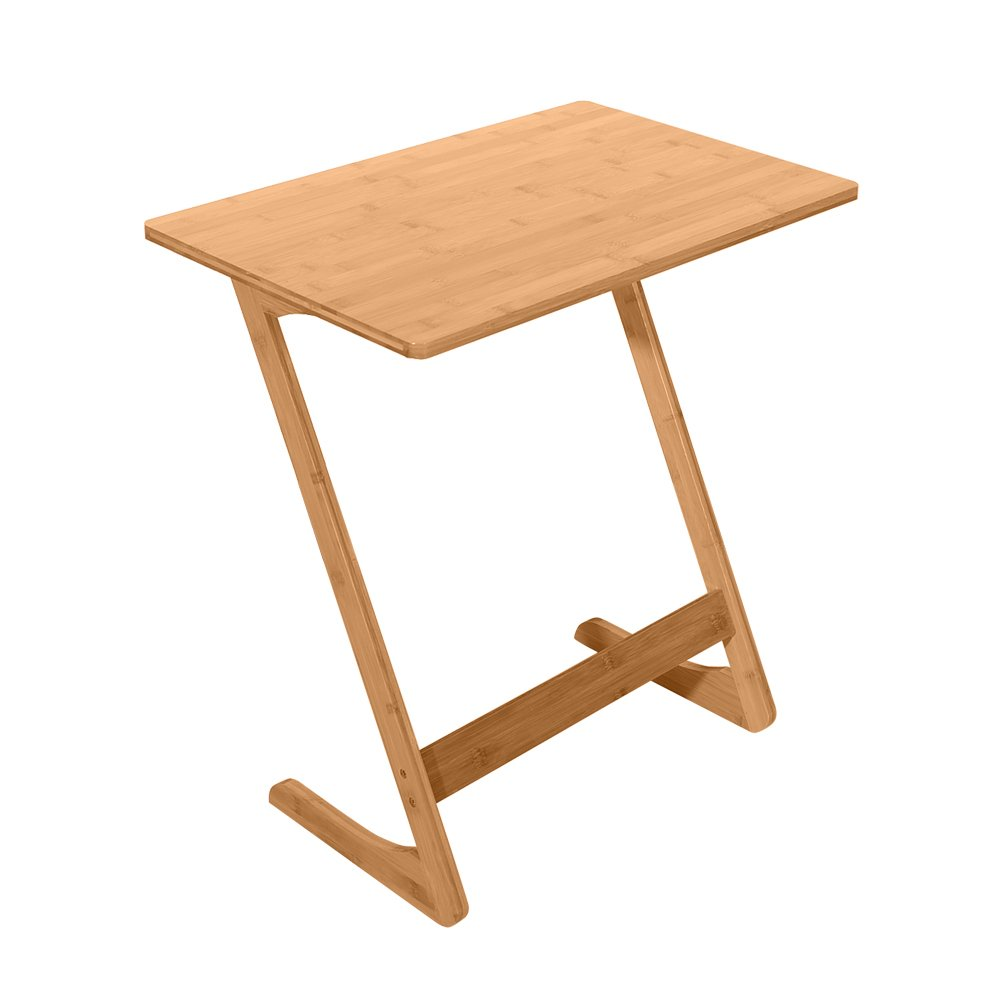 Chocity Z-Shaped Bamboo Sofa Side Table Sandal Wood Color 60x40x65cm by Chocity