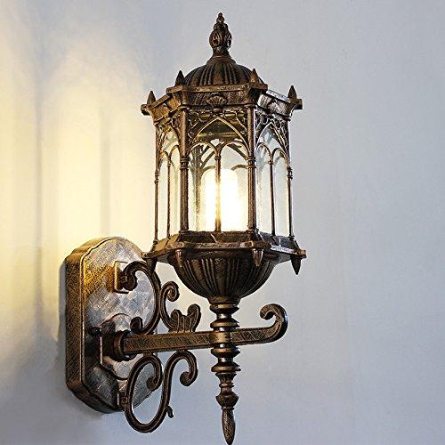 HRCxue Lampada da parete per esterni impermeabile retro balcone luci del giardino creativo scale corridoio esterno applique da parete pastorale 42.5  22.5 cm