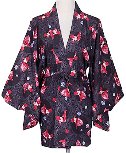 Plaid&Plain Women's Goldfish Sakura Yukata Haori Coat Set 3 Colours With A Belt Black Coat Freesize - Haori Jacket