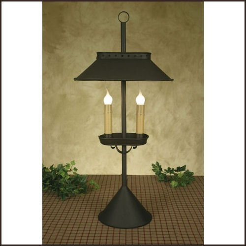 Double Candle Desk Lamp in Rustic Brown