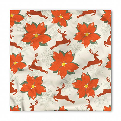Ambesonne Christmas Bandana, Vibrant Poinsettia Flowers with Galloping Reindeers and Snowflake Figures, Printed Unisex Bandana Head and Neck Tie Scarf Headband, 22 X 22 Inches, Vermilion Beige