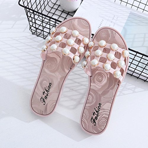 Hunpta Sommer Perlen Frauen Hausschuhe Sandalen Flip Flops Flats Strand Plattform Schuhe Rosa