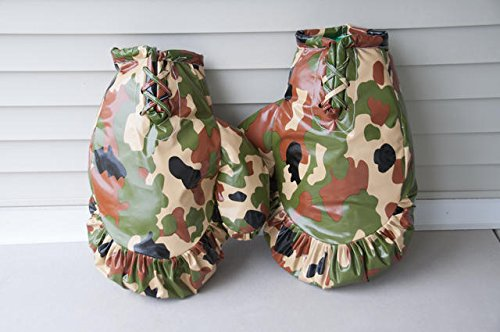 Giant Boxing Gloves for Bounce House Inflatables, Commercial Quality Low Density Foam and Double Stitched Vinyl, Replacement for Interactive Inflated Boxing Ring (Green and Brown Camo Pair) by TentandTable (Image #2)