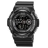 ETEVON Men's 'Firmament' Double Screen Digital Electronic Watch EL Backlight Stopwatch Alarm Waterproof, Outdoor Sport Watches for Men Kids - Black