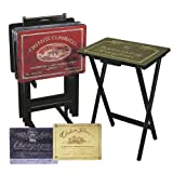 Evergreen Enterprises 5809 Wine Label TV Trays with Stand - Set of 4
