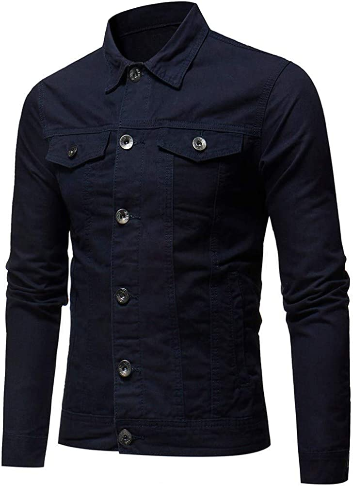 Sonnena Mens Solid Color Coat Autumn Winter Button Vintage Denim Jacket Tops Blouse Casual Outwear