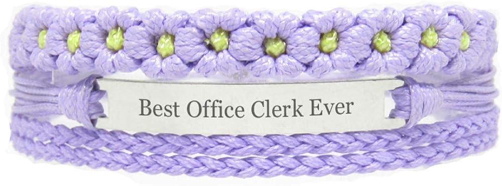 Miiras Job Engraved Handmade Bracelet for Women - Best Office Clerk Ever - Purple FL - Made of Braided Rope and Stainless Steel - Gift for Office Clerk